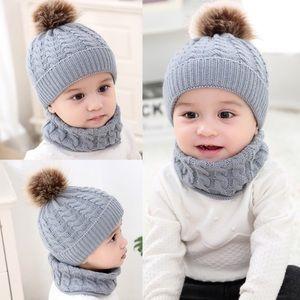 Other - Grey Winter Baby Hat w/ Fur Pom Pom & Ring Scarf